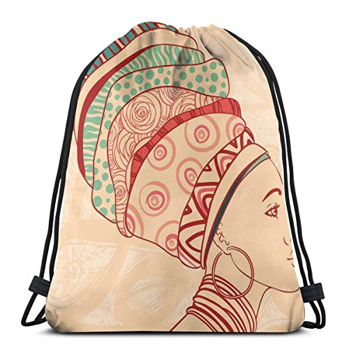 Necklace Hamsa Vibrant (Unisex Drawstring Bag Gym Bags Storage Backpack,Local Female Portrait With Necklace Earring And Ethnic Turban Ornaments)