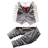 Aivtalk Toddler Boys Casual Spring Bowtie Plaid False 2 Pieces Shirt Elastic Pant for 1-2 Years Old