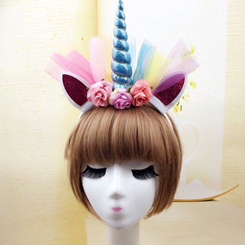usongs Multicolored blue unicorn girl gauze small Ma Baoli catwalk models hair bands headband hair ornaments exaggeration party