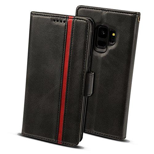 Galaxy S9 ケース 手帳型 ギャラクシーS9ケース - Rssviss サイドマグネット カード収納 Qi充電対応 横置き機能 ストラップ通し穴 高級PUレザー S9カバー 財布型 (Samsung Galaxy S9に対応) W5 ブラック