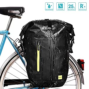Yosoo Health Gear Waterproof Bicycle Pannier Bag, 25L Large Capacity Bike Rear Seat Trunk Bag, Portable Outdoor Bicycle…