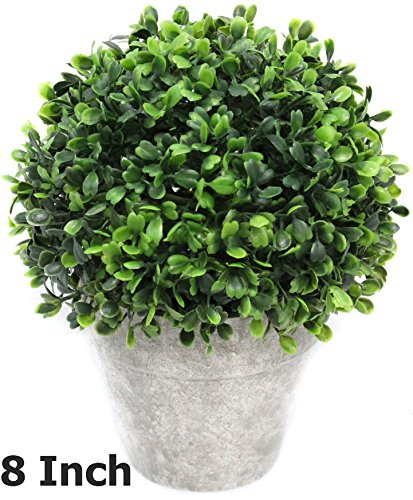 Artificial Boxwood Topiary Ball Table Top Plant With Decorative Pot 8 inches Tall Realistic Indoor Faux Decor