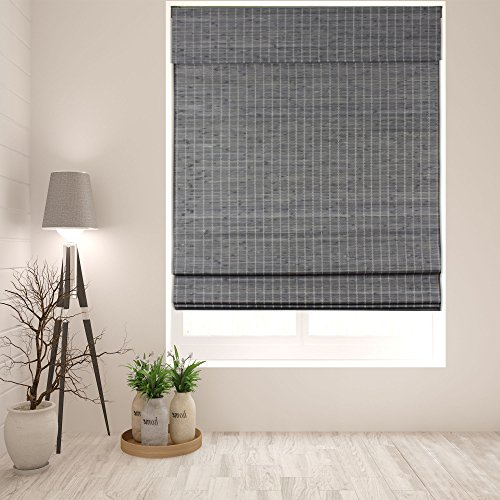 Arlo Blinds Cordless Privacy Grey-Brown Bamboo Roman Shades