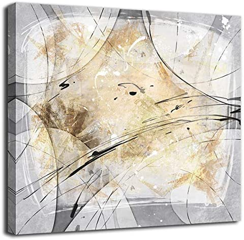 Abstract Wall Art Grey Yellow Canvas Art Modern Canvas Pictures Contemporary Canvas Artwork