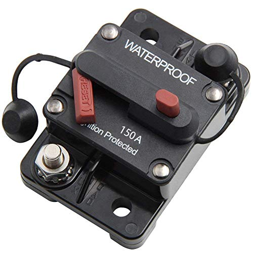 ANJOSHI 150 Amp Circuit Breaker 20A-300A with Manual Reset Waterproof Inline Fuse Inverter for Marine Trolling Motors Boat ATV Manual Power ()