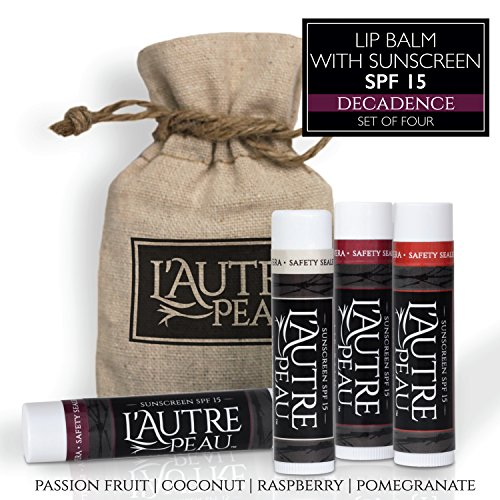 Luxury Lip Balm Set with SPF 15 by L'AUTRE PEAU - Dry Chapped Lips Treatment with Moisturizer for Sun Protection | Decadence Gift Set | Passion Fruit, Coconut, Raspberry & Pomegranate (4 (Coconut Passion Fruit)