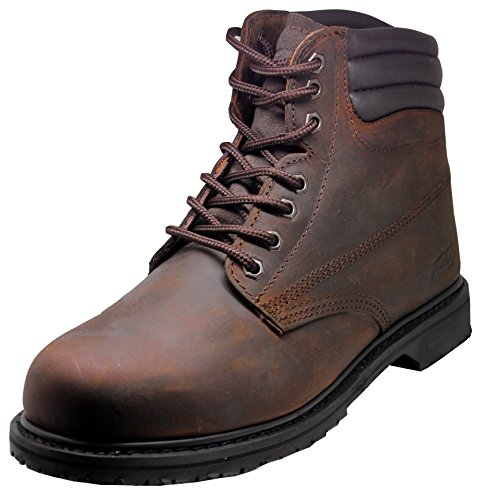 Men's On Site Leather Memory Foam, Slip Resistant Work Boots