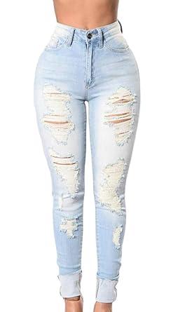 Amazon.com: Lutratocro Pantalones vaqueros para mujer de ...