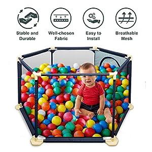 Détachable Playpen Clôture de Sécurité Parc Bébé Pliable Barrière de Sécurité Enfant Pour Enfants Pour Les Bébés/Tout-Petits/Nouveau-Nés/Nourrissons (Bleu) 3
