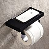 Black Oil Rubbed Bronze Finish Wall-mounted Toilet Roll Holder Towel Rack with a Soap Dish/plate for Cellphone