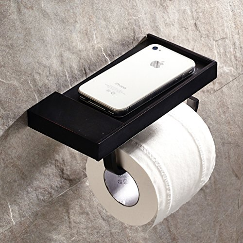 Wall Mount Phone Plate (Black Oil Rubbed Bronze Finish Wall-mounted Toilet Roll Holder Towel Rack with a Soap Dish/plate for Cellphone)
