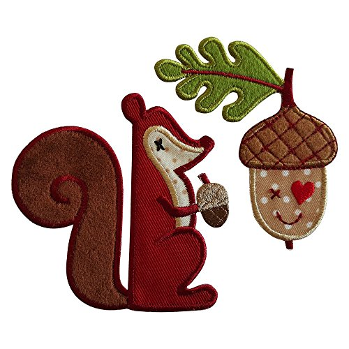 Squirrel 8X8Cm Acorn 7X8Cm Iron-On Designer Patch Used For Gifts Crafts Jeans Clothing Fabric To Iron On Birthday Christening Birth Application Sports Football Club City Kids Sew On Plate Dresses Jac