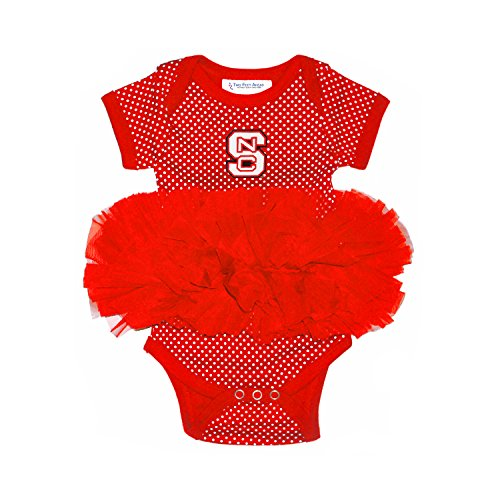 Two Feet Ahead NCAA North Carolina State Wolfpack Children Girls Pin Dot Tutu Creeper,18 mo,Red