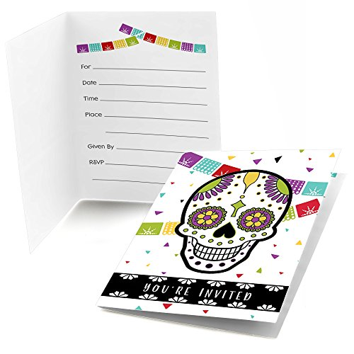 Day Of The Dead - Fill In Halloween Sugar Skull Party Invitations (8 count) -
