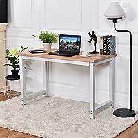 CHEFJOY Computer Desk PC Laptop Table Estación de trabajo de madera Estudio Muebles de oficina, blanco y natural