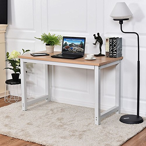 Office Bedroom Desk - CHEFJOY Computer Desk PC Laptop Table Wood Work-Station Study Home Office Furniture, White & Natural
