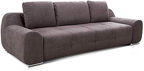 Cavadore Big Sofa Benderes Grosse Couch Mit Steppung Und Ziernaht Inkl 3 Kissen Chromfusse 266 X 70 X 102 Bxhxt Grau Amazon De Kuche Haushalt