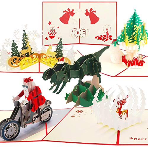 3D Christmas Pop Up Greeting Cards Gifts - 6 Pack Winter Holiday Xmas Card with Christmas Trees, Santa Claus, Noel, Reindeer, Dinosaur, for Kids Funny Birthday Friend Family Thank You Card