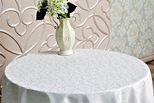 Turkish Tablecloth Polyester Table Linen, Stain Resistant, Washes Easily, Non Iron, Great for Thanksgiving or Christmas Dinner, Wedding, Parties, IVORY (Round (60 Inch Round Tablecloths)