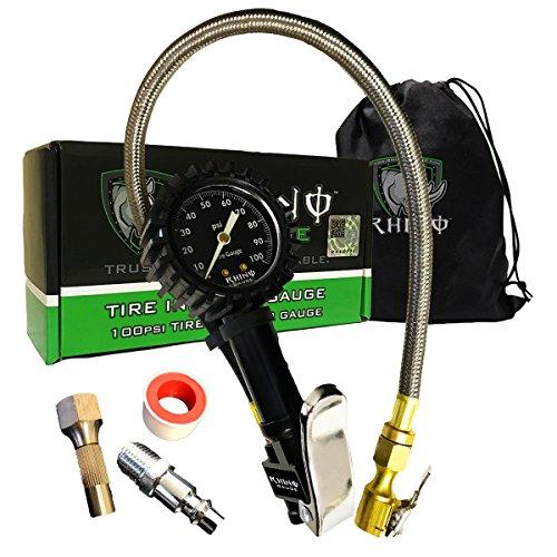 RHINO USA Heavy Duty Tire Inflator Pressure Gauge (0-100 PSI) - Certified Accuracy, Large 2