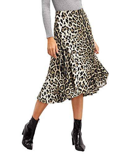 Leopard Print Ruffle Trim - WDIRARA Women's Casual Leopard Print Ruffle Trim A Line Midi Skirt Multicolor L