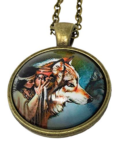 Blazing Autumn Native American Women and Wolf Glass Dome Pendant Necklaces/Art Portrait Pendant Photo Under Glass Necklaces with Antique Gold Chain (Girl with Vase and Timber Wolf)