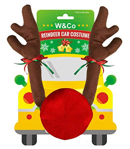 (W&Co Car Reindeer with Jingle Bells Costume Reindeer Christmas Car Character Kit Party)