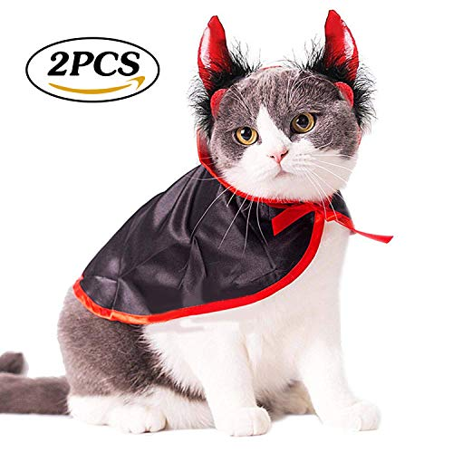 Monster High Dog Costumes (Impoosy Halloween Pet Dog Cat Costume Demon Cloak Bat Classic Monsters Clothes Devil Headband Cosplay Party for Dogs Cats Puppy Kitten)