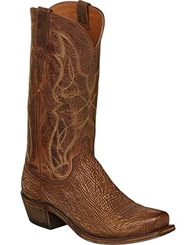 Lucchese Cognac Carl Sharkskin Cowboy Boots - Narrow Square Toe (10 EE - Wide)