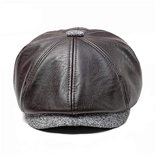 King Star Mens 8 Panel Leather Newsboy Cap