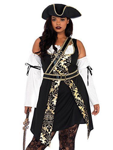 Halloween Costumes Tavern Wench (Leg Avenue Women's Costume, Black/Gold, 1X /)