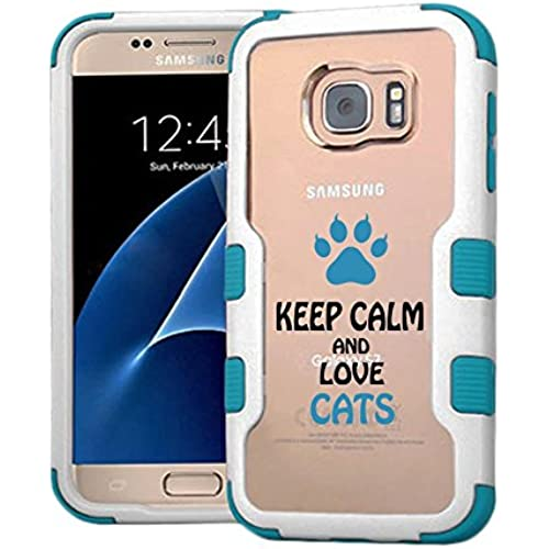 Galaxy S7 Case I Love Cats, Extra Shock-Absorb Clear back panel + Engineered TPU bumper 3 layer protection for Samsung Galaxy S7 (New 2016) Blue Cover (I Love Sales