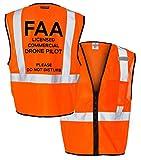 Custom Kamal Ohava Drone Pilot Zip Up Reflective Safety Vest, Orange, 2X/3X