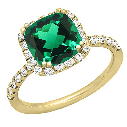 (Dazzlingrock Collection 14K 7.5 MM Cushion Lab Created Emerald & Round Diamond Engagement Ring, Yellow Gold, Size 7)