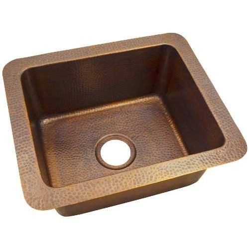 The Copper Factory CF162AN Solid Hand Hammered Copper 18-Inch by 12-Inch Single Bowl Drop-In/Undermount Sink, Antique Copper by The Copper Factory by The Copper Factory