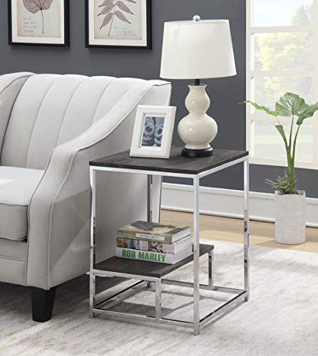 Convenience Concepts 134145WGY Wilshire End Table, Weathered Gray/Chrome