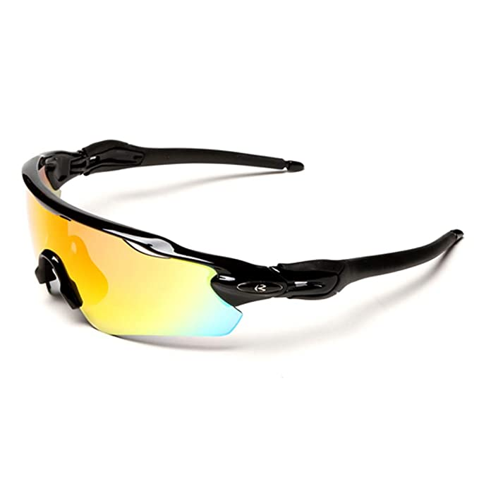 e992dba62ae Polarized Designer Sports Sunglasses 5 Set Interchangeable Lenses For  Cycling (Black