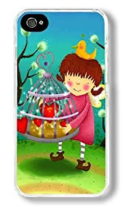 Cute Girl Christmas Gifts Custom iPhone 4S Case Back Cover, Snap-on Shell Case Polycarbonate PC Plastic Hard Case Transparent