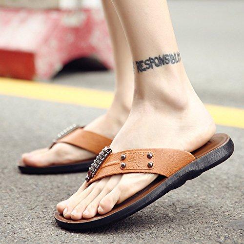 Xing Lin Sandalias De Hombre Macho Flip-Flops Verano Hombres Zapatillas Flip-Flip Vestir Calzado De Playa De Verano Tendencia Sandalias Casuales Hombres 39L665 Amarillo