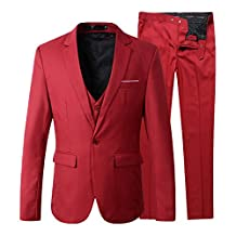 Benibos Men's Slim Fit Suit Blazer Jacket Tux Vest Pants 3 Pieces Suit Set