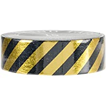 Love My Tapes 89215-G2-BLACK Gold Black Striped Decorative Tapes, 15mm by 10m