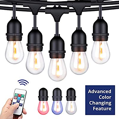 Foxlux Outdoor String Lights with Color Changing LED - 48 ft Patio Lights with Remote Control Color Change - White, Red, Green and Blue - Waterproof Plastic Bulbs for Backyard, Garden, Bistro, Café
