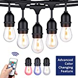 house exterior colors Foxlux Outdoor String Lights with Color Changing LED - 48 ft Patio Lights with Remote Control Color Change - White, Red, Green and Blue - Waterproof Plastic Bulbs for Backyard, Garden, Bistro, Café