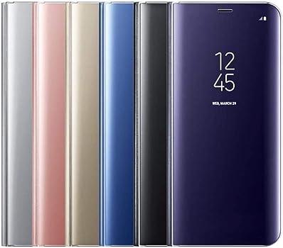 Caler Case Compatible con Samsung Galaxy S7 Edge Funda Cuero PU Espejo Brillante Clear View Modelo Fecha Duro Cover Flip Tapa Libro Soporte Plegable Ventana de Espejo Transparente Carcasa(Azul): Amazon.es: Ropa y