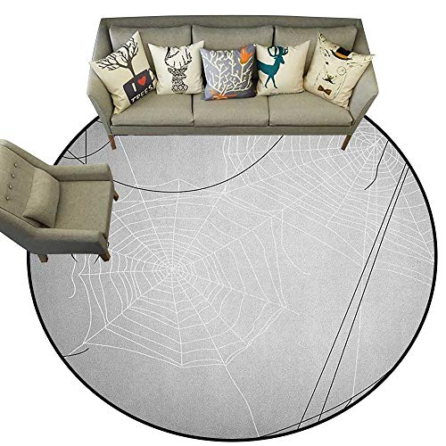 Spider Web,Nursery Rugs Spiders Hanging from Webs Halloween Inspired Design Dangerous Cartoon Icon D60 Kids Play Mat Round Rug