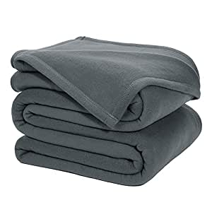 DOZZZ Queen Polar-Fleece Thermal Blanket GREY (90 by 90 Inches) - Extra Soft Brush Fabric, Super Warm Bed Fleece Blanket Lightweight Couch Blanket, Easy Care, Machine Washable Blanket