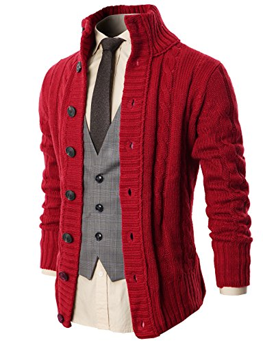 (H2H Mens Regular Fit Ribbed Knit Cardigan with Pockets Wine US M/Asia L (KMOCAL020) )
