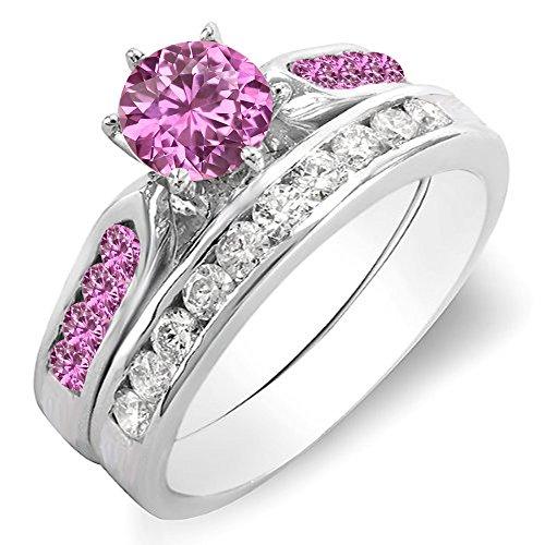 10K White Gold Round Pink Sapphire & White Diamond Ladies Bridal Engagement Ring Set (Size 7.5) (Fancy Pink Ring Diamond)