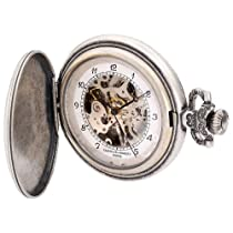 Charles-Hubert, Paris 3920 Classic Collection Antique Silver Plated Brass Mechanical Pocket Watch