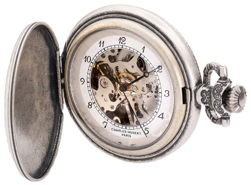 Mechanical Pocket Watch Plated (Charles-Hubert, Paris 3920 Classic Collection Antique Silver Plated Brass Mechanical Pocket Watch)